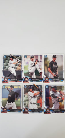 2018 Bowman Chrome Prospects Series 1 Team Set - Miami Marlins (6 Cards)
