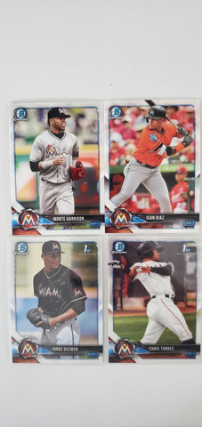2018 Bowman Chrome Prospects Series 2 Team Set - Miami Marlins (4 Cards)