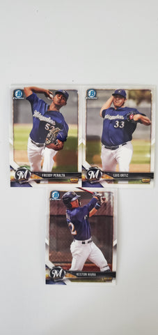 2018 Bowman Chrome Prospects Series 2 Team Set - Milwaukee Brewers (3 Cards)