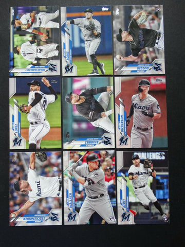 2020 Topps Series 2 Team Set - Miami Marlins (9 Cards)