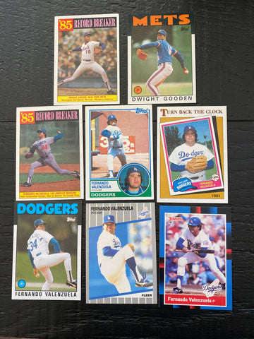 Fernando Valenzuela & Dwight Gooden lot of 8