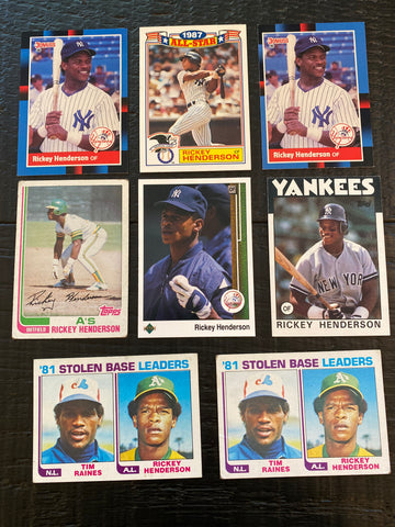 Rickey Henderson lot of 8