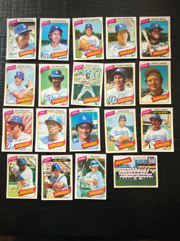 1980 Topps Baseball Los Angeles Dodgers Team Lot 19/28 Cards No Dupes