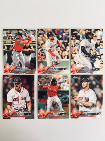 2018 Topps Chrome Base Red Sox Partial Team Set (6 of 7 Cards) No Devers