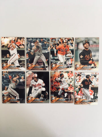 2018 Topps Chrome Orioles Team Set (8 Cards) Sisco/Hays RC
