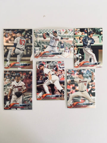 2018 Topps Chrome Base Braves Partial Team Set (6 of 8 Cards) No Acuna or Albies