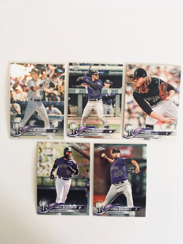 2018 Topps Chrome Refractors Rockies Team Set (5 Cards)