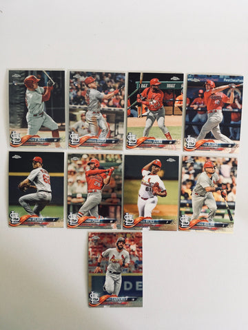 2018 Topps Chrome Base Cardinals Partial Team Set (9 of 10 Cards) No Flaherty