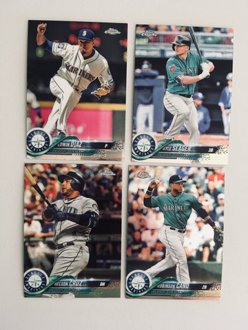 2018 Topps Chrome Mariners Team Set (4 Cards)