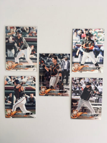 2018 Topps Chrome Refractors Giants Team Set (5 Cards)