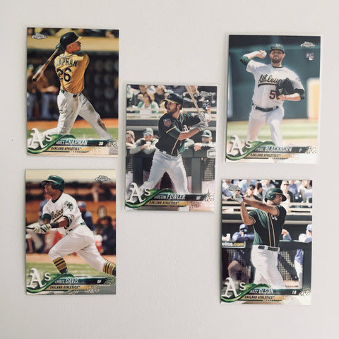 2018 Topps Chrome A's Team Set (5 Cards) Fowler RC