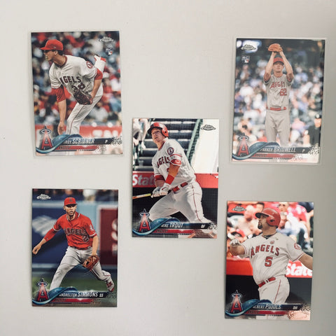 2018 Topps Chrome Angels Partial Team Set (5 of 6 Cards) No Ohtani