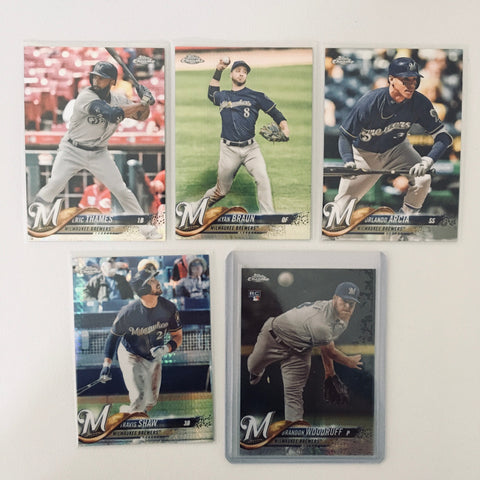 2018 Topps Chrome Prism Team Lot  Milwaukee Brewers Woodruff RC
