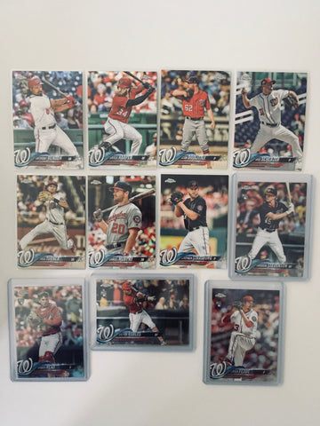 2018 Topps Chrome Refractors Nationals Team Set (11 Cards) Robles RC