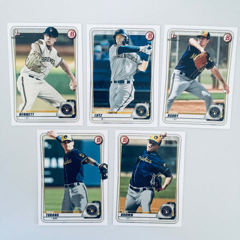 2020 Bowman Prospects Team Set - Milwaukee Brewers (5 Cards)
