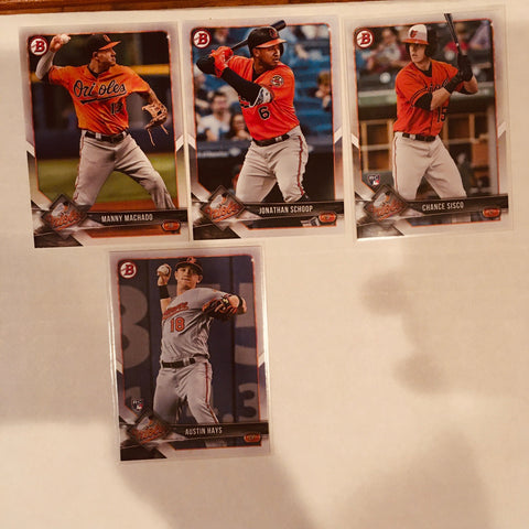 2018 Bowman Base Team Set RC's - Baltimore Orioles (4 Cards)