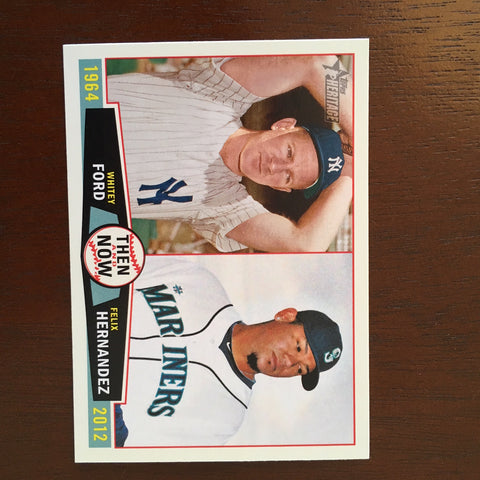 2013 Topps Heritage Then and Now #FH Whitey Ford/Felix Hernandez