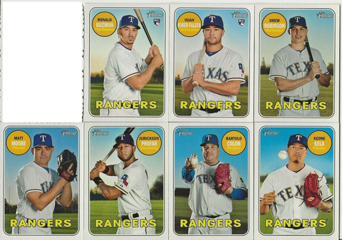 2018 Topps Heritage High Number TEXAS RANGERS Team Set