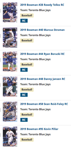 2019 Bowman Base Team Set - Toronto Blue Jays (6 cards)