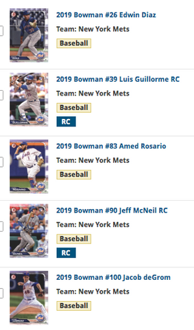2019 Bowman Team Set - New York Mets