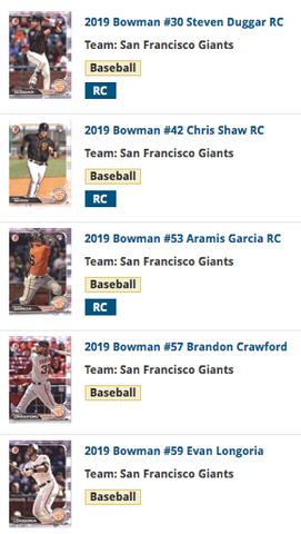 2019 Bowman Base Team Set - San Francisco Giants (5 Cards)