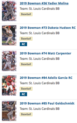 2019 Bowman Base Team Set - St. Louis Cardinals (5 Cards)