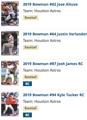 2019 Bowman Base Team Set - Houston Astros (4 Cards)