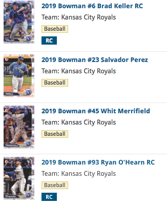 2019 Bowman Base Team Set - Kansas City Royals (4 Cards)
