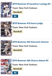 2019 Bowman Base Team Set - New York Yankees (4 Cards)