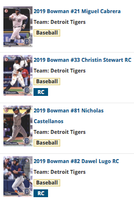 2019 Bowman Base Team Set - Detroit Tigers (4 Cards)