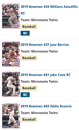 2019 Bowman Base Team Set - Minnesota Twins (4 Cards)
