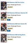 2019 Bowman Base Team Set - Pittsburgh Pirates (4 Cards)