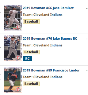 2019 Bowman Base Team Set - Cleveland Indians (3 Cards)