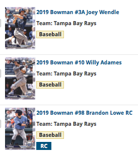 2019 Bowman Base Team Set - Tampa Bay Rays (3 Cards)