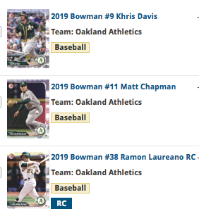 2019 Bowman Base Team Set - Oakland Athletics (3 Cards)