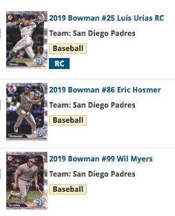 2019 Bowman Base Team Set - San Diego Padres (3 Cards)