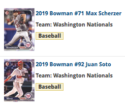 2019 Bowman Team Set - Washington Nationals
