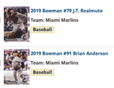 2019 Bowman Base Team Set - Miami Marlins (2 Cards)