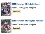 2019 Bowman Base Team Set - Los Angeles Dodgers (2 Cards)