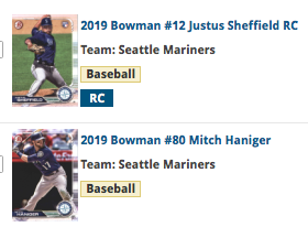 2019 Bowman Base Team Set - Seattle Mariners (2 Cards)
