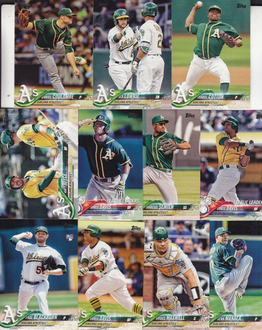 2018 TOPPS Series 1 team set - OAKLAND ATHLETICS  (11 cards)