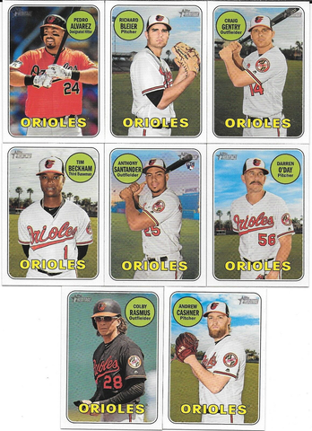 2018 Topps Heritage BALTIMORE ORIOLES High Number Base Team Set