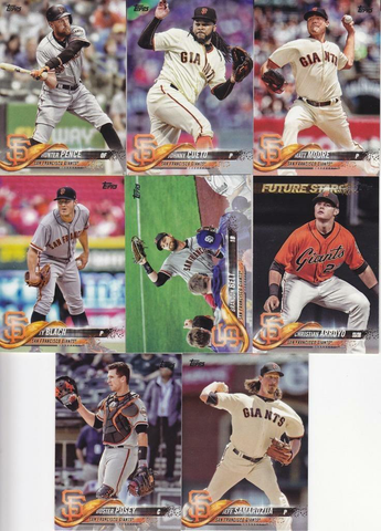 2018 TOPPS Series 1 team set - SAN FRANCISCO GIANTS (8 cards)