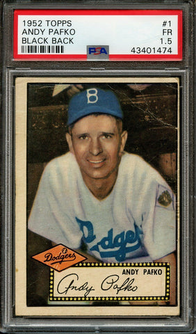 1952 Topps #1 Andy Pafko Black Back PSA 1.5 FR Brooklyn Dodgers
