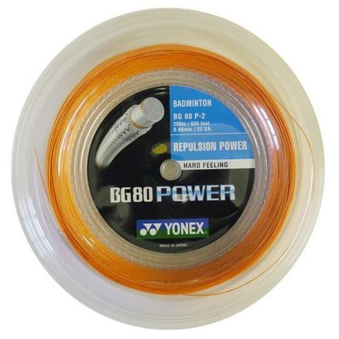 Yonex BG80 Power Badminton String 200m Reel - Orange