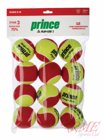 Prince Play + Stay Stage 3 Junior Tennis Balls Dozen