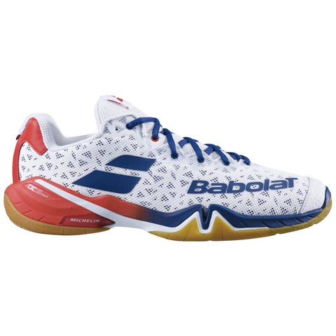 Babolat Shadow Tour Mens Badminton Shoes - White/Estate Blue (2020)