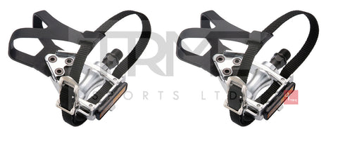 "Wellgo LU209 Road MTB pedals with Toe Clips & Straps 9/16"" Boron Axles"