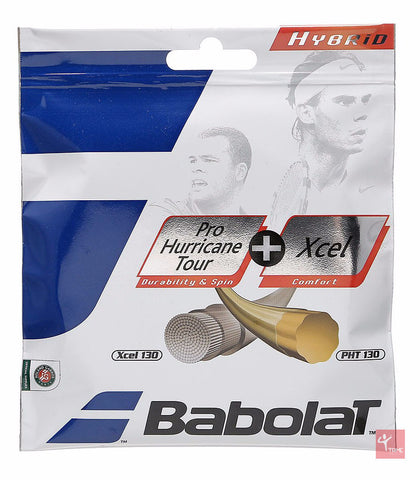 Babolat Hybrid Pro Hurricane Tour 16 + Xcel 16 Tennis String Set
