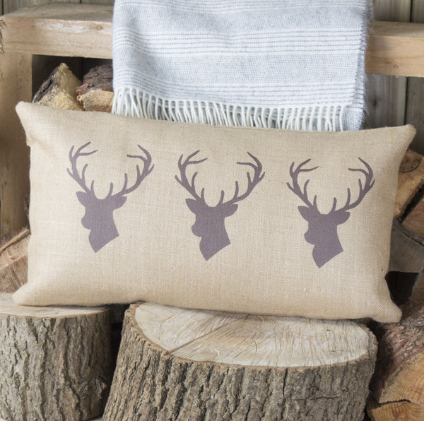 Chestnut Triple Stag on Hessian Cushion